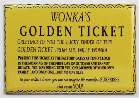 Golden Tickey By Meta Liquis Usa wonka golden ticket fridge magnet willy wonka chocolate factory entry ticket the robot