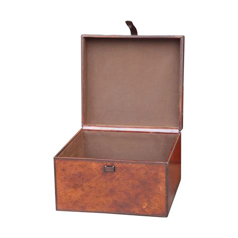 home decor boxes brown small stitched leather box guildmaster boxes