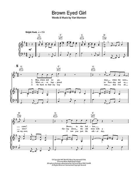 strum pattern for brown eyed girl brown eyed girl partituras por van morrison piano voz y