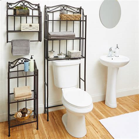 Bathroom Wall Storage Shelf Organizer Holder Towel Over Bathroom Storage Toilet