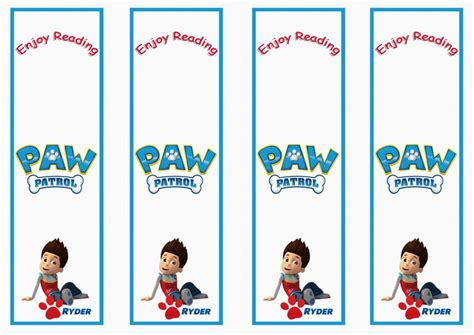 printable bookmarks with names paw patrol bookmarks birthday printable