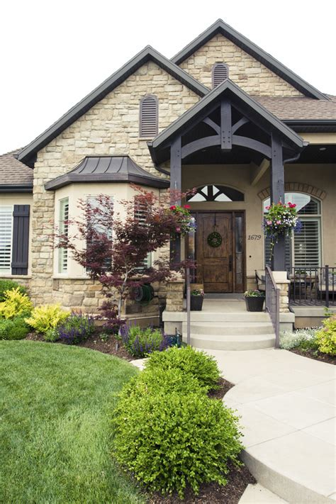 exterior landscaping love everything about this exterior love the beams the