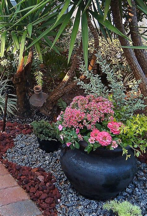 Rock Garden With Potted Plants 1000 Images About Landscaping Ideas On Gardens Front Yards And Tropical Backyard
