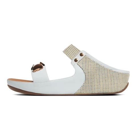 white slide sandals fitflop fitflop style quot jeweley quot white leather slide