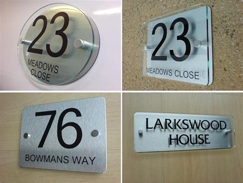 Glass Door Number Signs House Number Door Sign Plaque Modern Frosted Glass Effect Acrylic Metal Spacers