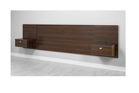 Floating King Headboard Integrated Nightstands Storage Bedroom Espresso New Headboards