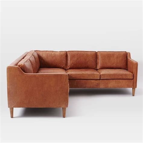 Leather 2 Sectional by Hamilton 2 Leather Sectional West Elm