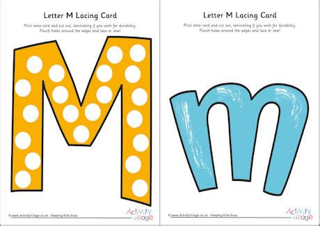 Alphabet Lacing Cards Templates by Letter M Lacing Card
