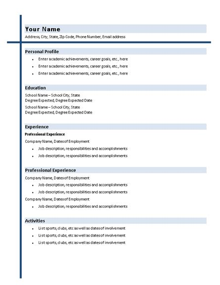 College Resume Template Word by College Graduate Resume With Shading Resumes And Cv