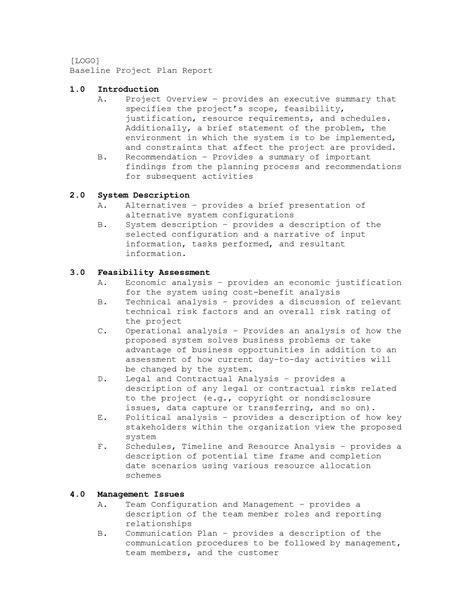 baseline report template best photos of justification report plan exle