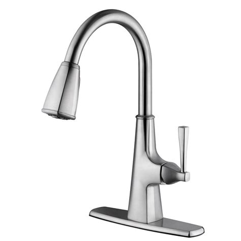 satin nickel kitchen faucets design house perth single handle pull sprayer kitchen faucet in satin nickel 546986 the