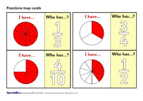 printable loop card games fractions primary teaching resources and printables