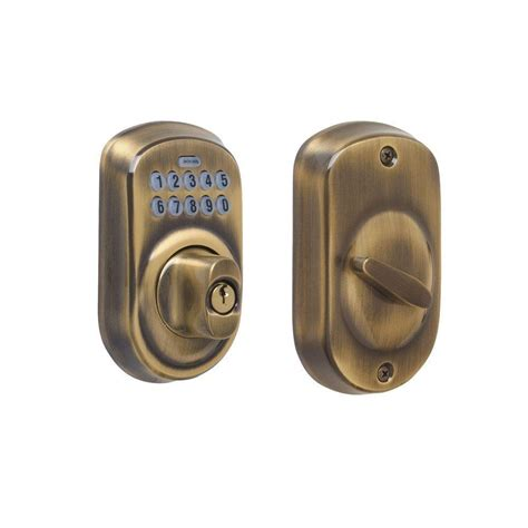locks plymouth schlage plymouth antique brass keypad deadbolt be365 ply