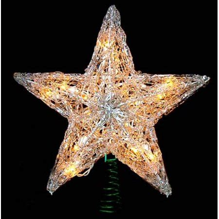 five star lighted tree top 12 quot lighted snowy style tree topper clear lights walmart