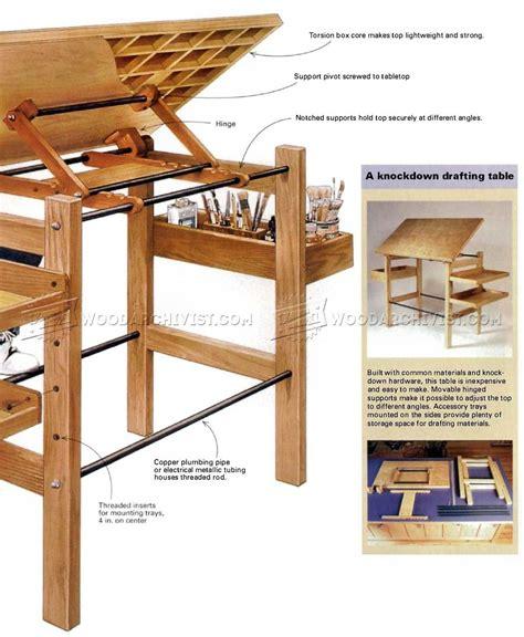 knockdown drafting table plans woodarchivist