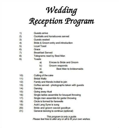 Wedding Reception Order by Best Wedding Reception Order Of Events Template Wedding
