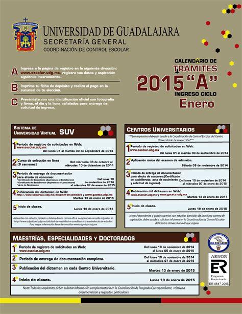 Calendario B Udg 2015 La Udeg Publica Listas De Admisi 243 N Calendario 2015 A