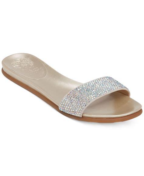 vince camuto flat shoes vince camuto endilla flat slide sandals in metallic lyst