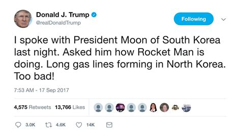 donald trump north korea tweet rocket man trump has a new nickname for kim jong un