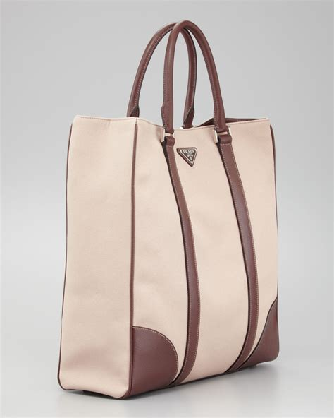 Leather Totebag lyst prada canvas leather tote bag in for