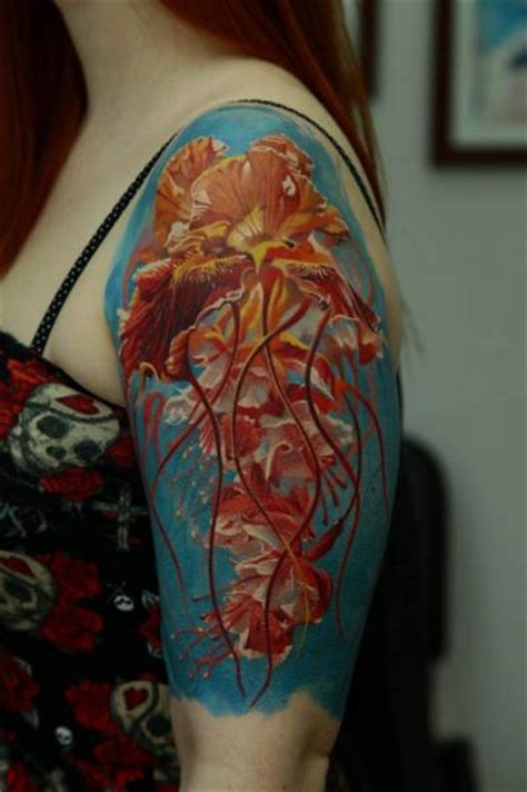 new school jellyfish tattoo shoulder jellyfish tattoo by kwadron tattoo gallery