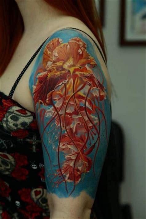 jellyfish tattoo on shoulder shoulder jellyfish tattoo by kwadron tattoo gallery