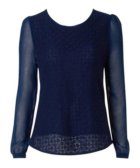 louche theo navy lace chiffon blouse designer topwear sale louche secretsales