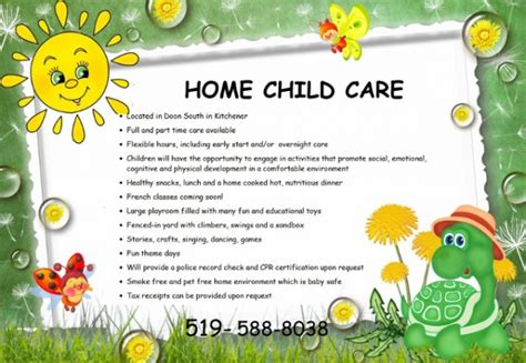 doon south home child care services in kitchener infant