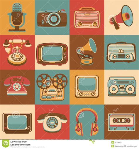 how to make a retro icon style using the appearance panel retro media icons stock vector illustration of player