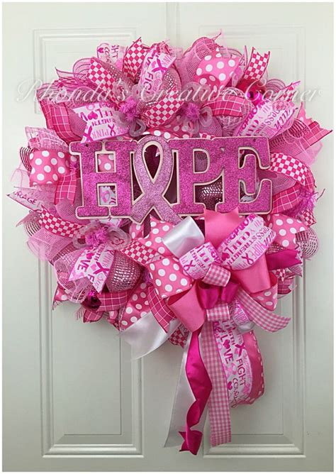 Breast Cancer Awareness Decoration Ideas Deco Mesh Heart Wreath Stunning Love Button Natural