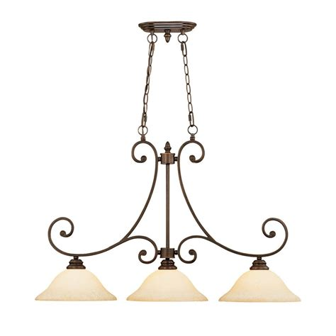 Bronze Island Light Fixtures Shop Millennium Lighting Oxford 3 Light Rubbed Bronze Kitchen Island Light With Tinted Shades At