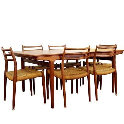 Mid Century Modern Expandable Dining Table Mid Century Modern Teak Expandable Dining Table Six Chairs Two Leaves At 1stdibs