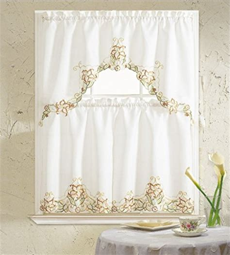 Floral Kitchen Curtains B H Home Floral Embroidered 3 Kitchen Curtain Window Treatment Set Beige Pet Bed