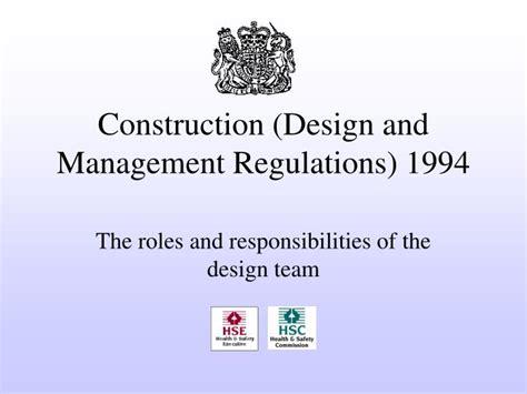 design management regulations ppt construction design and management regulations