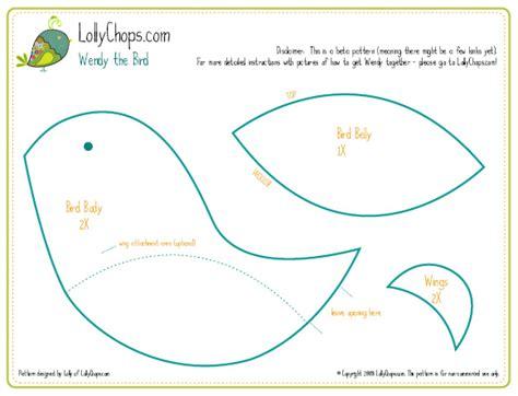 bird sewing template lollychops wendy the bird free pattern
