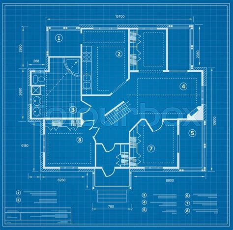 home blue prints 2018 blueprint house plan drawing figure stock vector colourbox