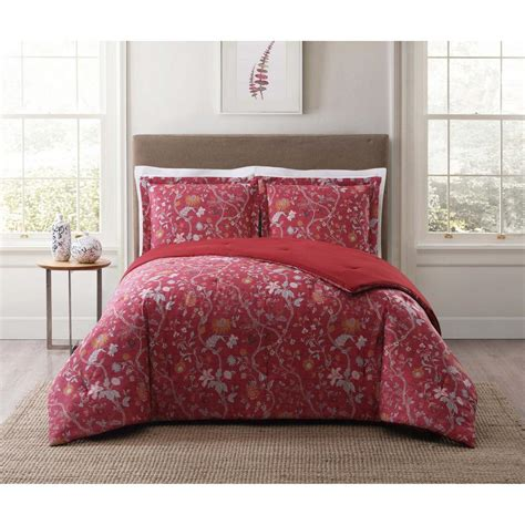 full xl comforter sets style 212 bedford red multi full and queen xl comforter