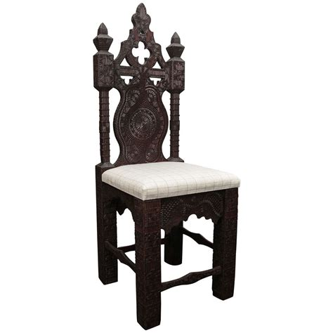 19th century turkish carved wood chair with linen cushion for sale at 1stdibs