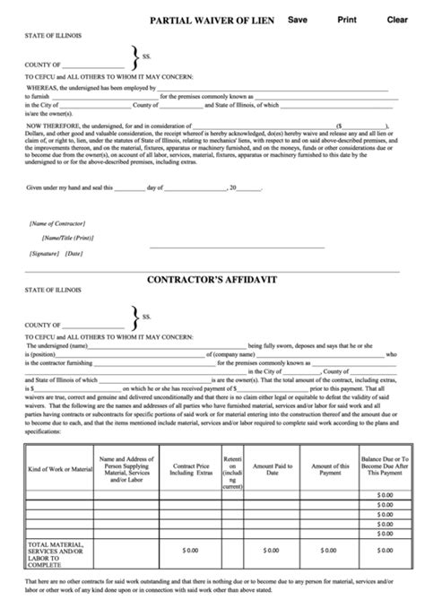 partial lien waiver template 76 lien waiver form templates free to in pdf