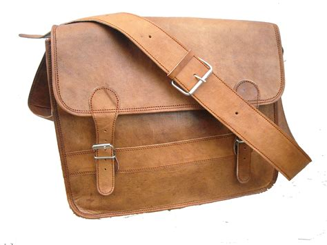 Leather Sling Bag For Macbook Or Notebook Up To 14 By Zapatos Brown vintage 18 inch real goat leather brown messenger office bag laptop handmade bag shaista