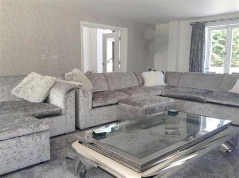 grey crushed velvet sofa bed bespoke lara grey silver crushed velvet 3m x 3m corner