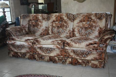 country cottage sofas vintage deville sofa chair western pioneer pattern 1970s