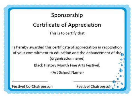 Sponsor Certificate Template 12 certificates of appreciation for sponsorship free word templates demplates