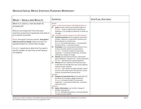 Strategic Planning Worksheet by Museum Social Media Planning Worksheet