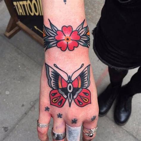 tattoo hand old school old school hand butterfly tattoo by cloak and dagger tattoo