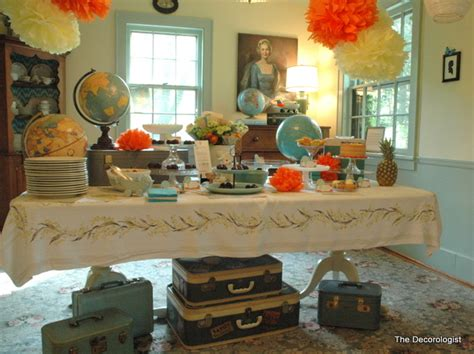 travel theme decor maps globes and suitcases it must be a travel party