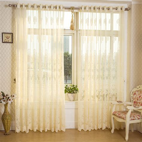 study curtains 2 panel beige hollow out sheer tulle curtains window