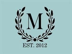 stencil custom your initial monogram wreath various sizes