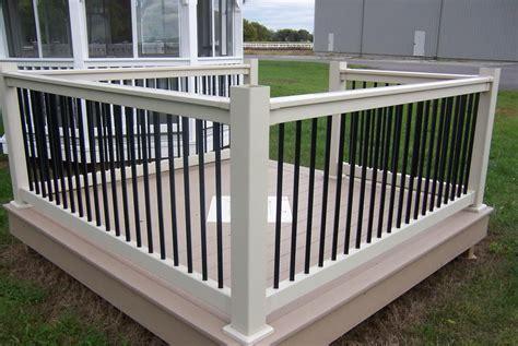 black with white vinyl deck railing see plenty deck