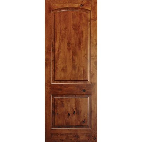 20 Interior Door Krosswood Doors 24 In X 80 In Rustic Knotty Alder 2 Panel Top Rail Arch Solid Right Wood